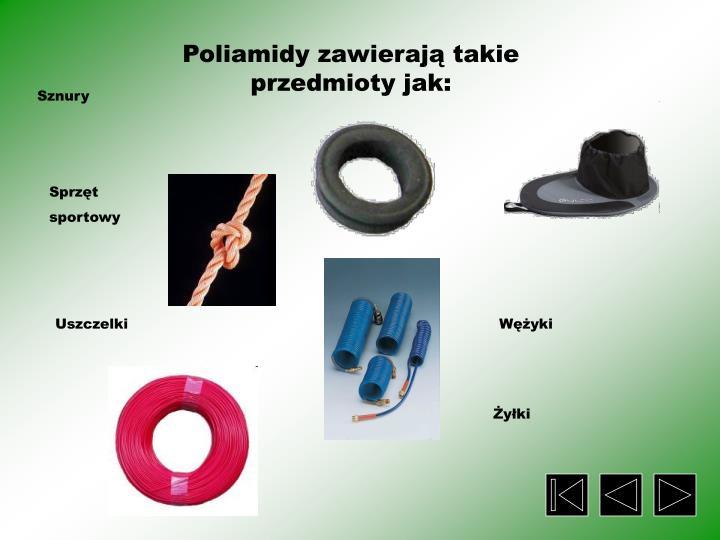Poliamidy zawierają takie przedmioty jak: