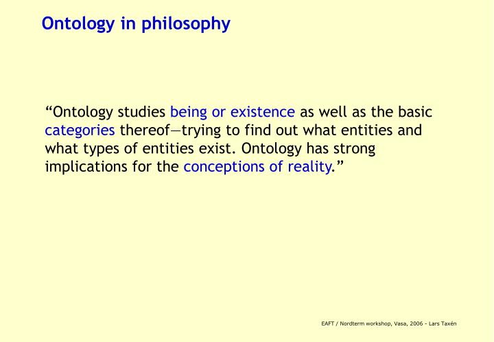 Ontology in philosophy