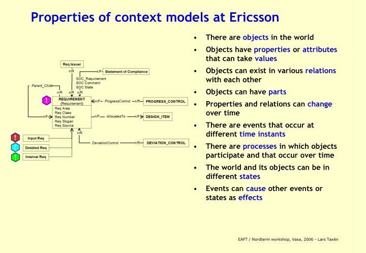 Properties of context models at Ericsson