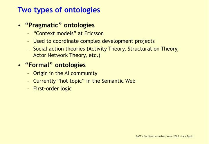 Two types of ontologies