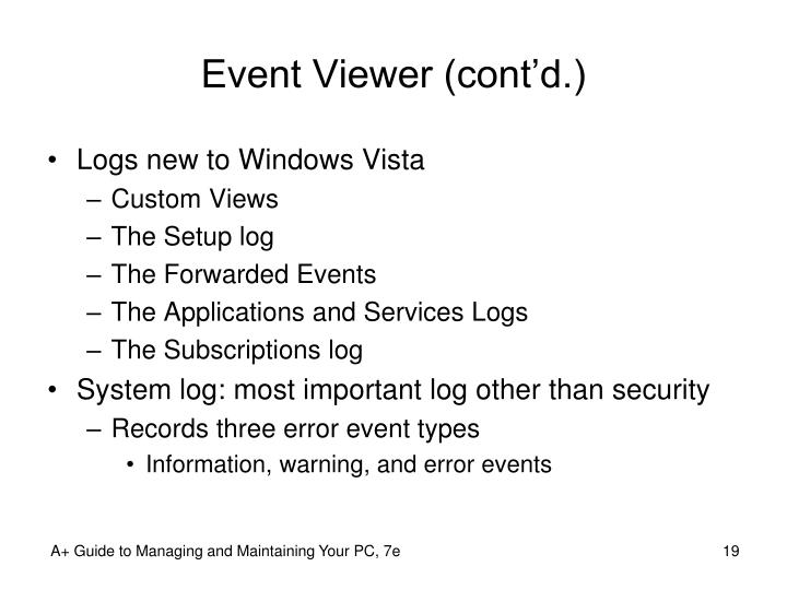 Event Viewer (cont'd.)