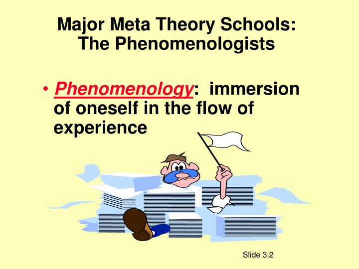 Major Meta Theory Schools:  The Phenomenologists