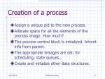 creation of a process