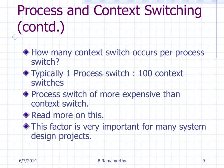 Process and Context Switching (contd.)