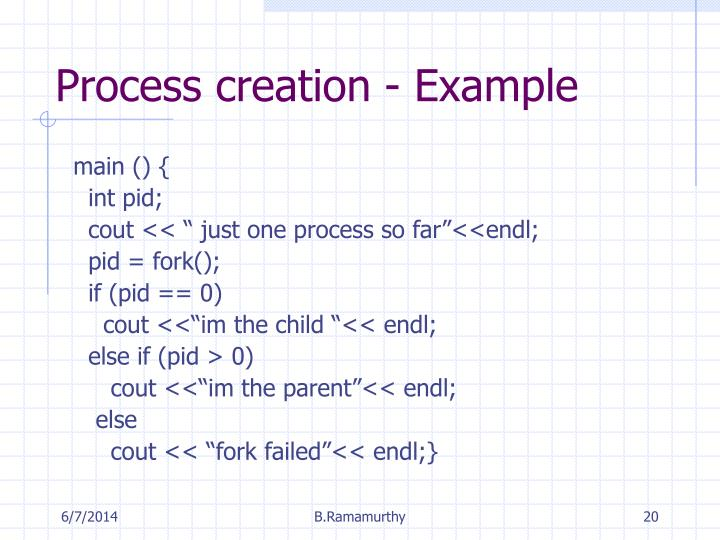 Process creation - Example