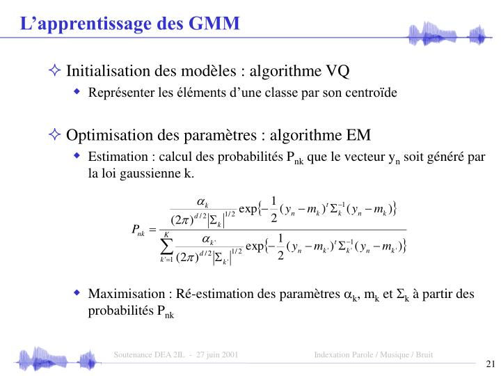 L'apprentissage des GMM