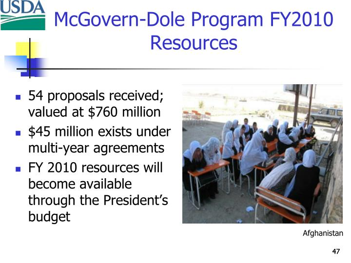 McGovern-Dole Program FY2010 Resources