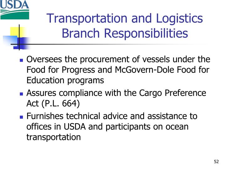 Transportation and Logistics Branch Responsibilities