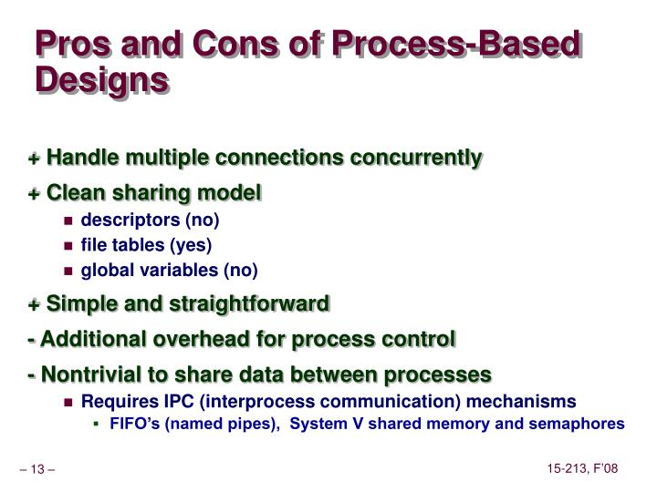 Pros and Cons of Process-Based Designs