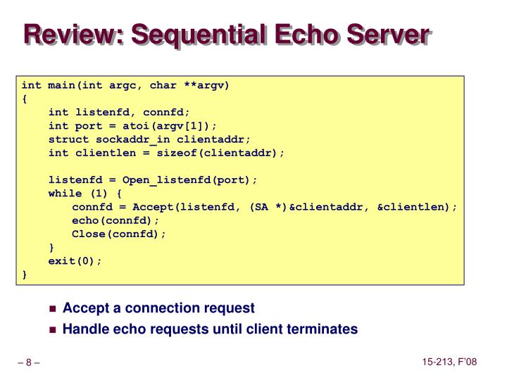 Review: Sequential Echo Server