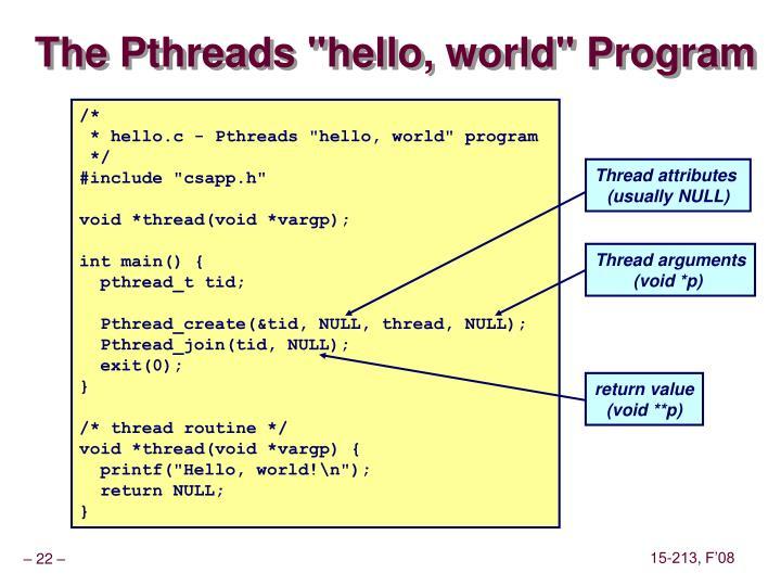 "The Pthreads ""hello, world"" Program"