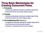 three basic mechanisms for creating concurrent flows