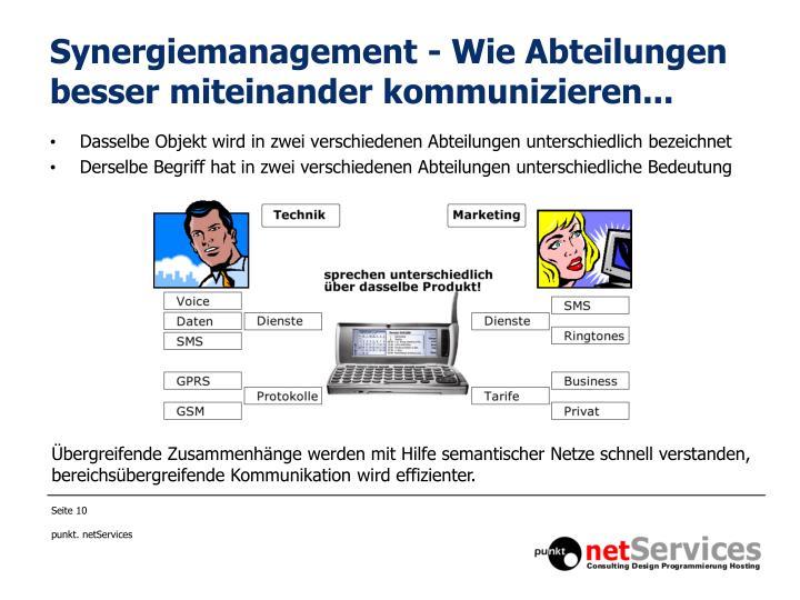 Synergiemanagement - Wie Abteilungen besser miteinander kommunizieren...