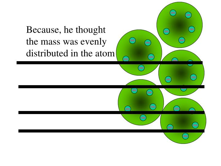 Because, he thought the mass was evenly distributed in the atom