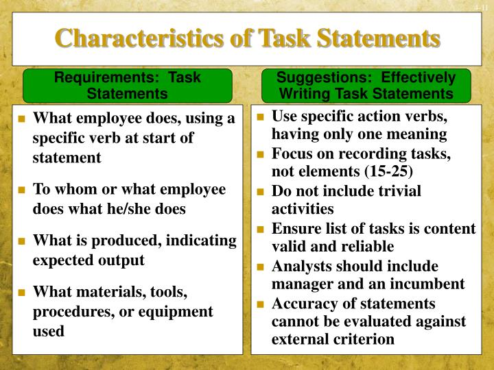 What employee does, using a specific verb at start of statement