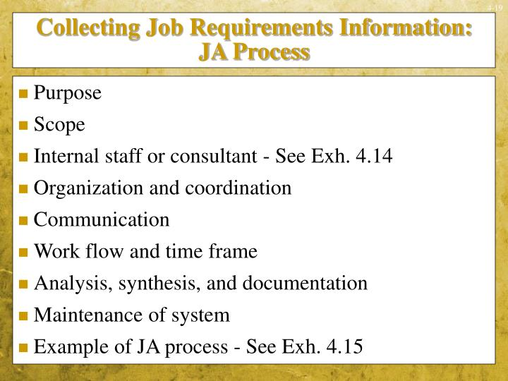 Collecting Job Requirements Information:  JA Process