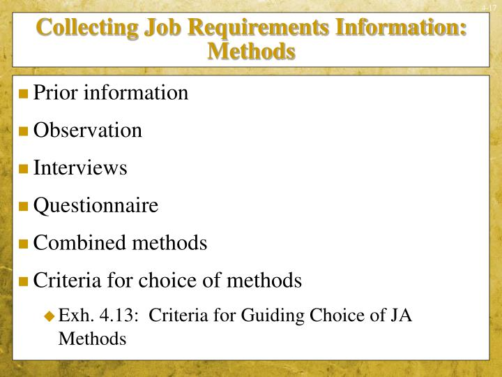 Collecting Job Requirements Information:  Methods