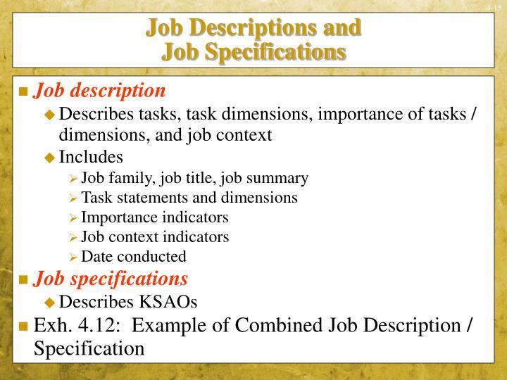 Job Descriptions and