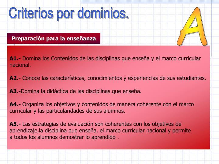 Criterios por dominios.