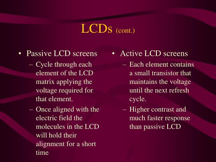 Passive LCD screens