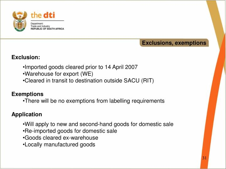 Exclusions, exemptions