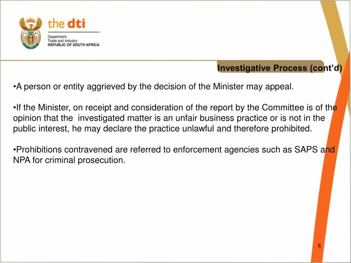 Investigative Process (cont'd)