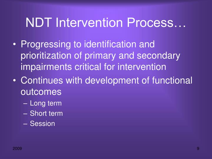 NDT Intervention Process…