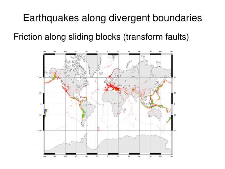 Earthquakes along divergent boundaries