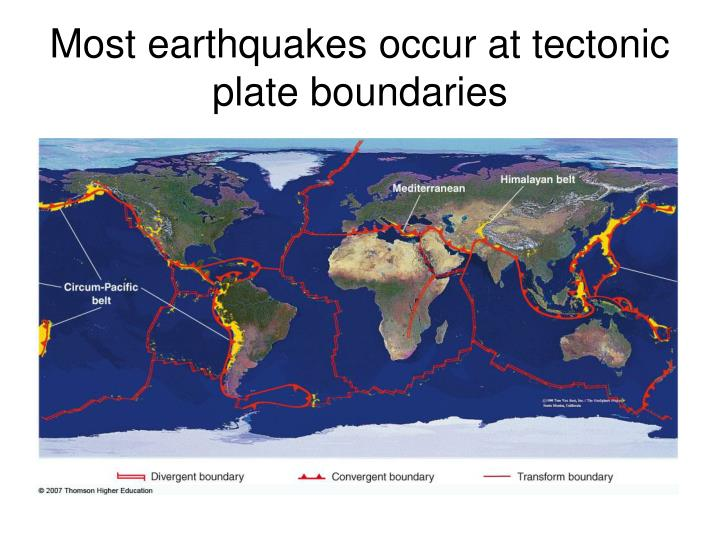 Most earthquakes occur at tectonic plate boundaries