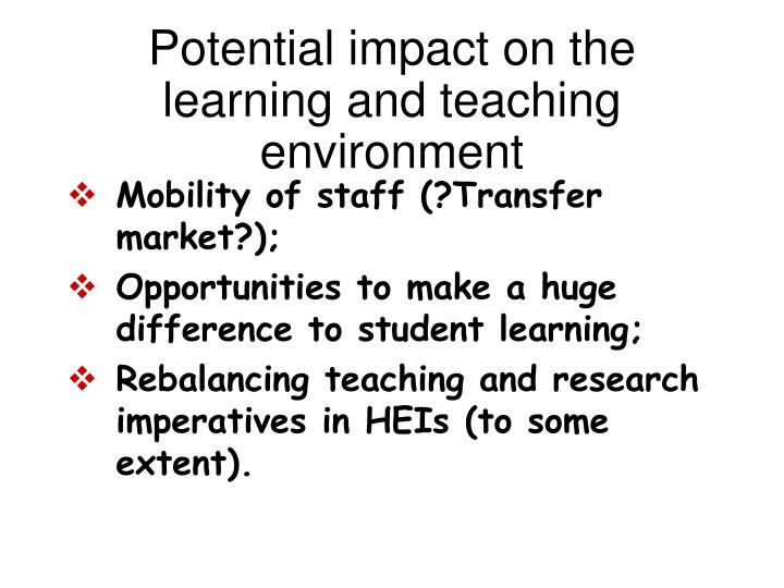 Potential impact on the learning and teaching environment
