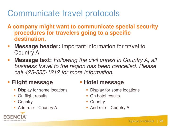Communicate travel protocols