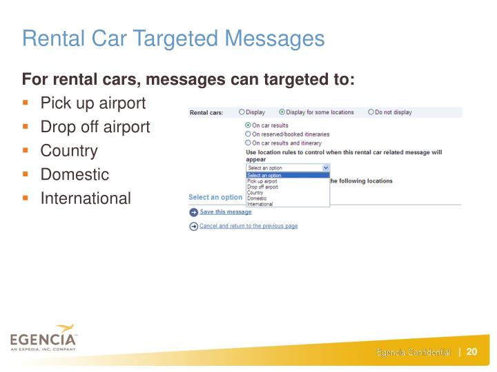 Rental Car Targeted Messages