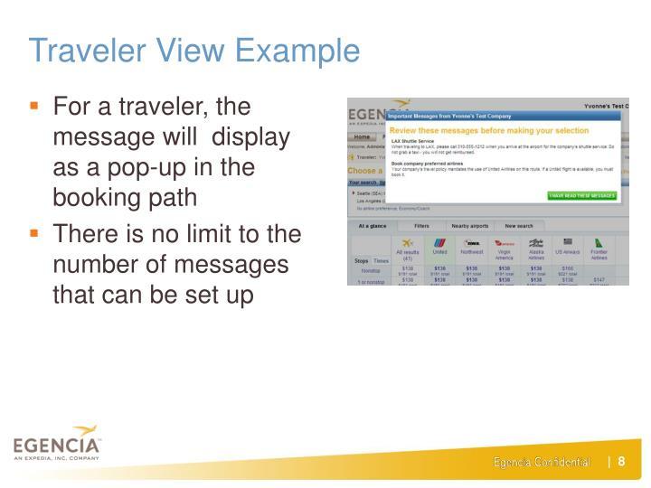 Traveler View Example