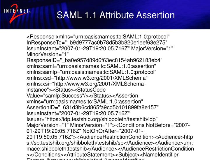 SAML 1.1 Attribute Assertion