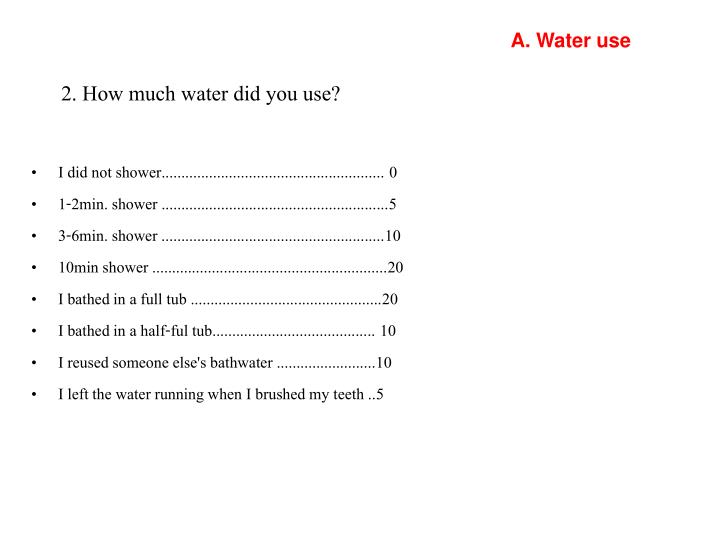 A. Water use