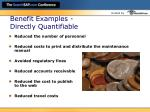 benefit examples directly quantifiable