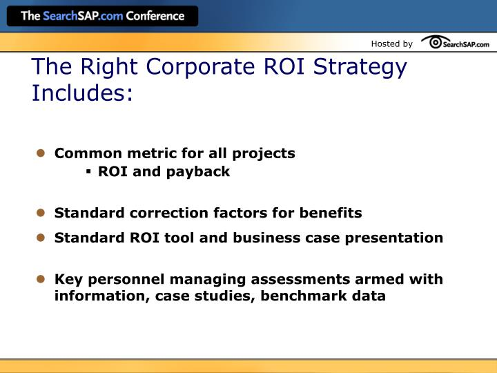 The Right Corporate ROI Strategy Includes: