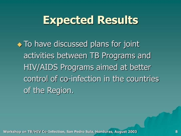 To have discussed plans for joint activities between TB Programs and HIV/AIDS Programs aimed at better control of co-infection in the countries of the Region.