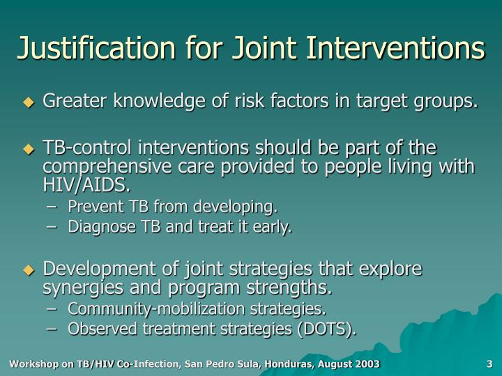 Justification for joint interventions1