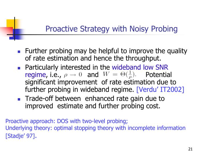Proactive Strategy with Noisy Probing