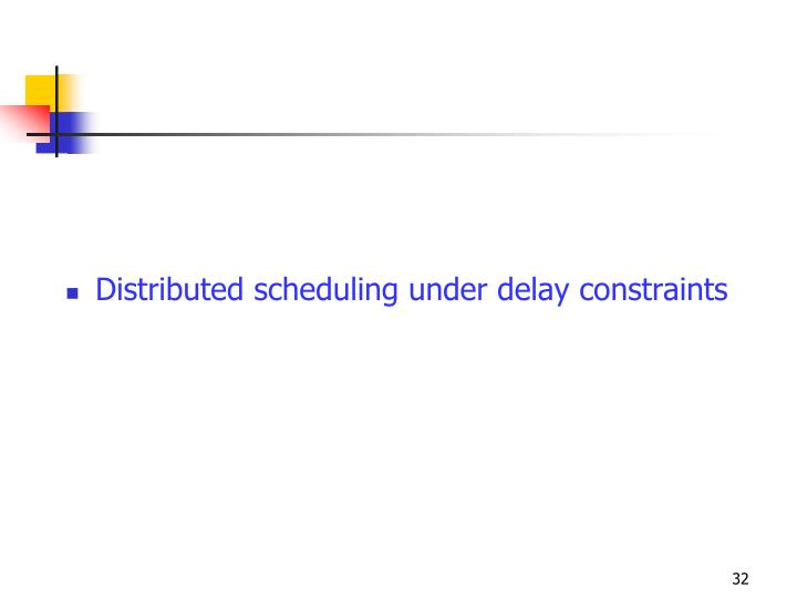 Distributed scheduling under delay constraints