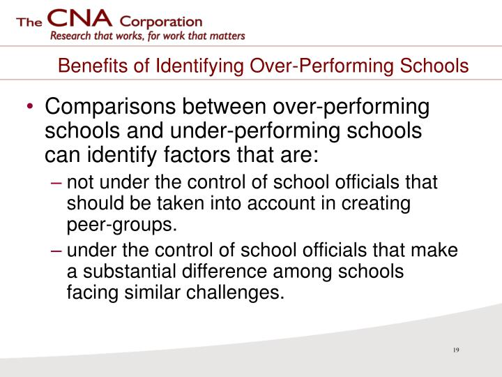 Benefits of Identifying Over-Performing Schools