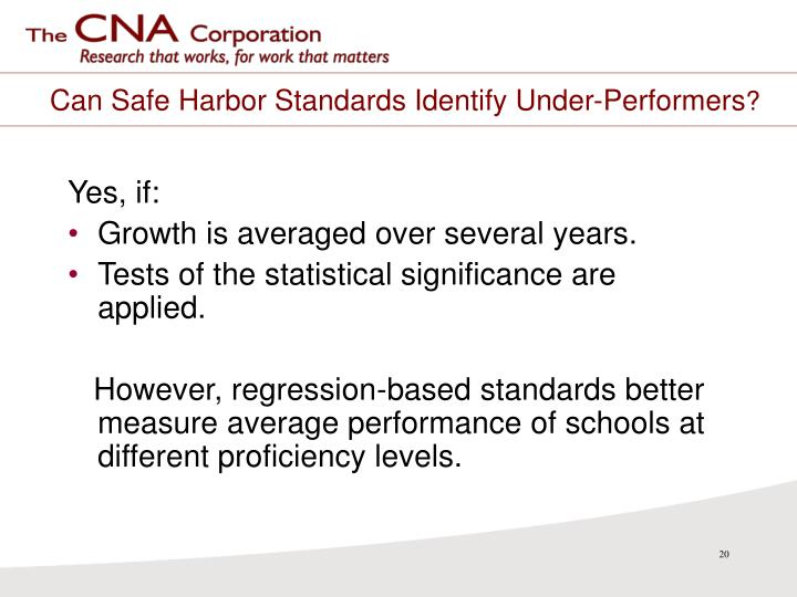 Can Safe Harbor Standards Identify Under-Performers