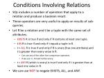conditions involving relations
