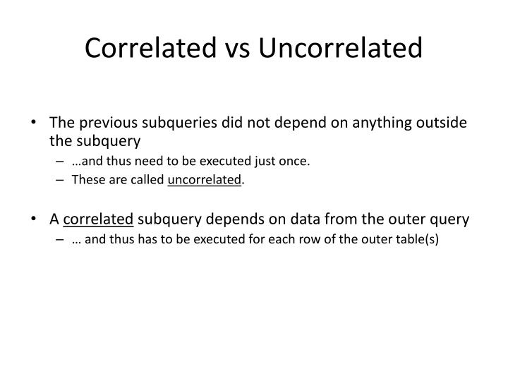 Correlated vs Uncorrelated