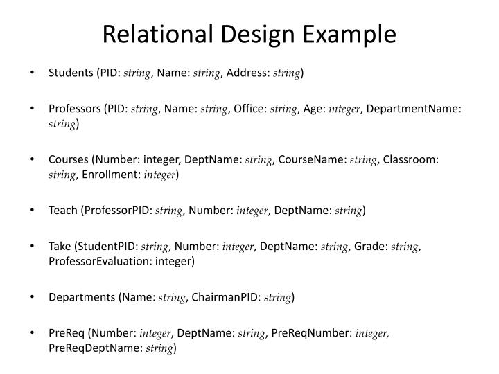 Relational Design Example