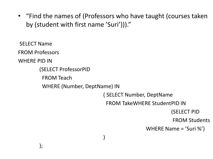 """Find the names of (Professors who have taught (courses taken by (student with first name 'Suri')))."""