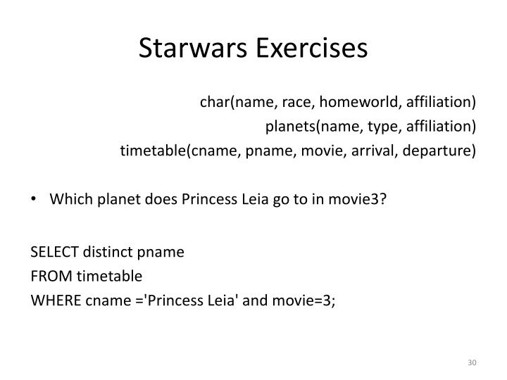 Starwars Exercises