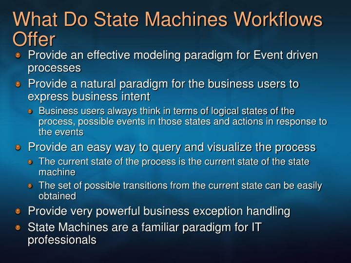 What Do State Machines Workflows