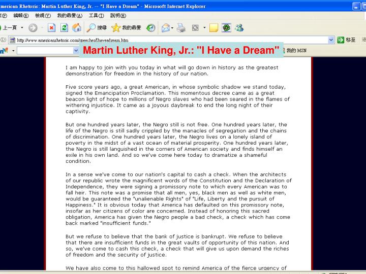 "Martin Luther King, Jr.: ""I Have a Dream"""